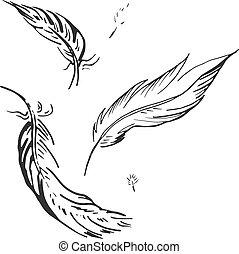 落下, 羽毛, 插圖