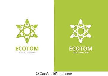 葉子, combination., 標識語, 科學, logotype, 矢量, 設計, 原子, 有机, 唯一, template.