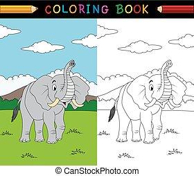 著色書, 卡通, 大象