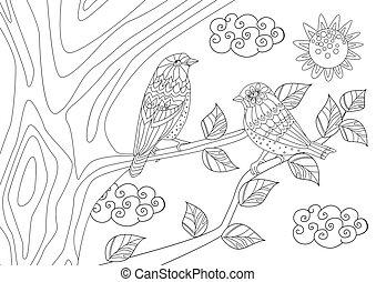 著色, 樹, 夫婦, 陽光充足的日, pa, 相當, 鳥, 你