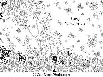 著色, 自行車, happ, book., 時裝, 騎馬, 女孩, 你