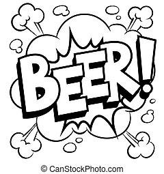著色, 詞, 插圖, 啤酒, 矢量, 喜劇演員書