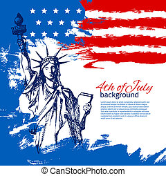 葡萄酒, 手, 美國人, 第4, 設計, 背景, flag., 畫, 七月, 天, 獨立