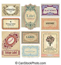 葡萄酒, 標籤, 集合, (vector)