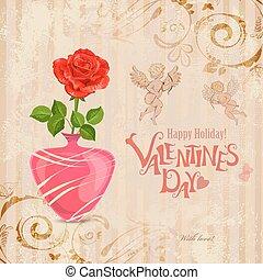 葡萄酒, 老, 上升, 花瓶, 紙, 邀請, y, 卡片
