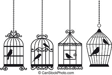 葡萄酒, 鳥, birdcages