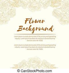 葡萄酒, handdrawn, 背景, 花, 上升, 植物