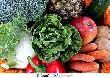 蔬菜, 充分的框架, 水果
