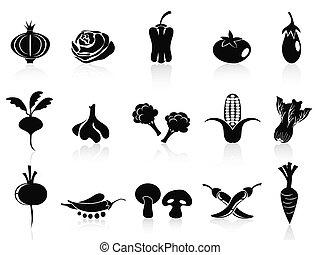 蔬菜, 集合, 黑色, 圖象