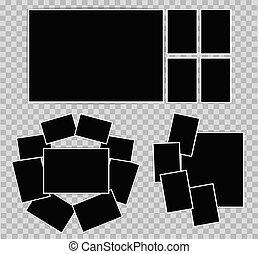 薄, 集合, 照相, 相片, 插圖, 作品, 背景。, 矢量, 框架, 白色, 邊框, 你, 透明, design.