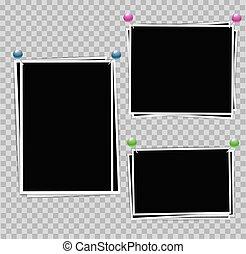 薄, 集合, 顏色照片, 邊框, 插圖, 作品, 背景。, 矢量, 別針, 白色, design., 照相, 你, 透明, 框架