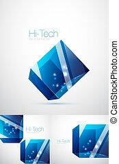 藍的玻璃, 立方, 背景