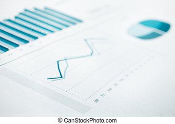 藍色帶上某种調子, 事務, 圖表, 焦點。, 選擇性, 報告, 數据, print.