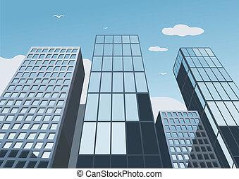 藍色的天空, 摩天樓, 背景