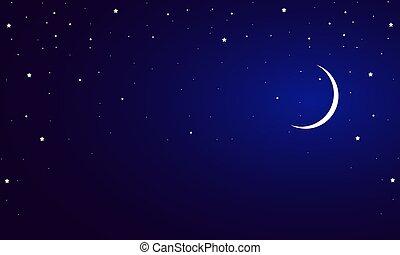 藍色的天空, 月牙, 星, 夜晚