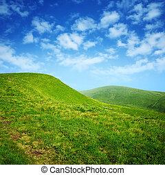 藍色的天空, 綠色, 云霧, 小山