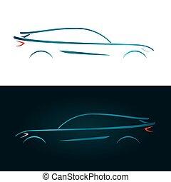 藍色的小汽車, 設計, 概念, 黑色半面畫像