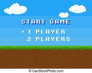 藍色的屏幕, 喜劇演員, 草地, 風景, 電腦, 天空, 夏天, 云霧, 被風格化, 數字, 廣場, game., 開始, 信件, 象素, 控制, retro, 菜單, 概念, 8, 矢量, 正文, 少量, gameplay, 背景, 80s.
