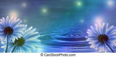 藍色的水, 花, 背景, 波浪