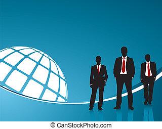 藍色的背景, 商業界人士