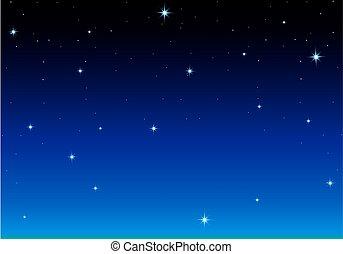 藍色的背景, 黑暗, 簽, 星, 夜晚
