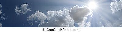 藍色, 云霧, 太陽, 天空, 全景, 地方, 正文, 你
