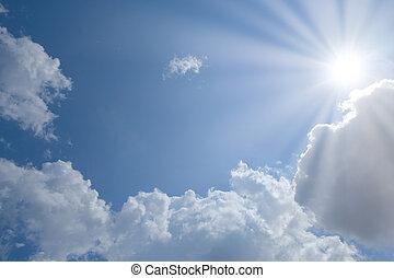 藍色, 云霧, 太陽, 天空, 地方, 正文, 你