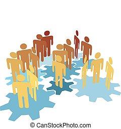藍色, 人們, 工作, 齒輪, 隊, 連接