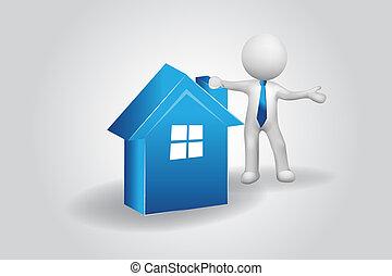 藍色, 人們, 房子, 小, 標識語, 人, 3d