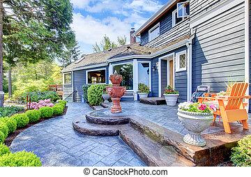 藍色, 入口, 房子, 泉水, patio., 好