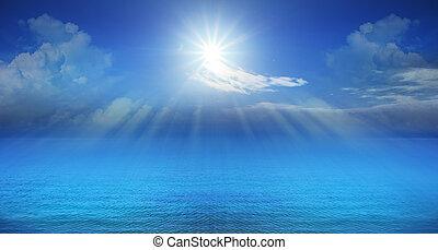 藍色, 全景, 發光, 天空, 太陽