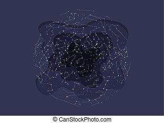 藍色, 北方, 天空, hemisphere., 星座, 黑暗, 真實