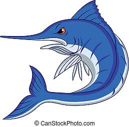 藍色, 卡通, 馬林魚