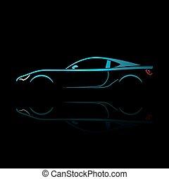 藍色, 反映。, 運動, 黑色半面畫像, 汽車