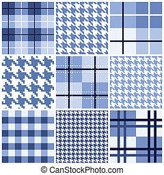 藍色, 圖案, 集合, seamless