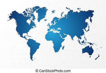 藍色, 地圖, eps10, 被隔离, 形狀, 矢量, 世界, file.
