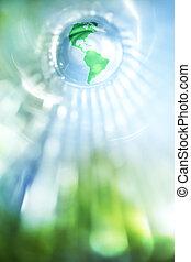 藍色, 地球, 綠色的背景