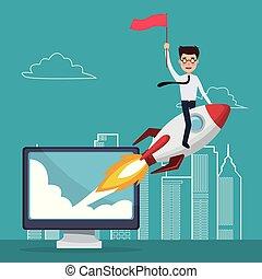 藍色, 城市, 黑色半面畫像, 火箭, 商務顏色, 向上, 開始, 電腦, 背景, 顯示, 風景, 人