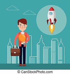 藍色, 城市, 黑色半面畫像, 火箭, 顏色, 向上, 開始, 背景, 商人, 文件夾, 風景, 圖象
