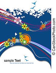 藍色, 夏天, 植物, 矢量, 背景。, illustration.