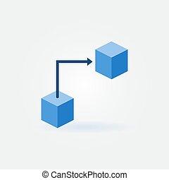 藍色, 套間, 概念, blockchain, 技術, 圖象
