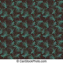 藍色, 布朗, pattern., seamless, 顏色, 矢量, 植物