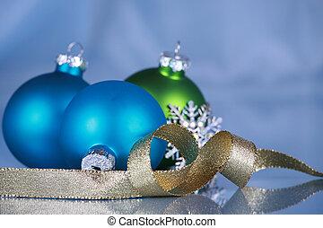 藍色, 布, 背景, 裝飾品, 聖誕節
