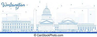藍色, 建筑物。, 華盛頓特區, 地平線, outline