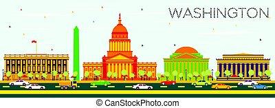 藍色, 建筑物, sky., 顏色, 華盛頓特區, 地平線