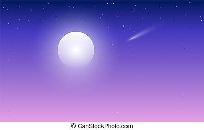 藍色, 彗星, 紫羅蘭色的天空, 月亮
