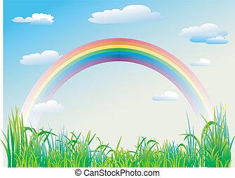 藍色, 彩虹, 天空, 背景