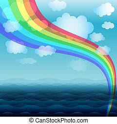 藍色, 彩虹, 水, 背景, 春天