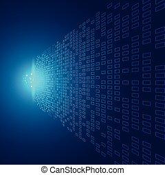 藍色, 影響, 概念, 爆炸, 光, 摘要, 調動, 數据, 遠景, 背景圖形, 正方形, 技術, 未來