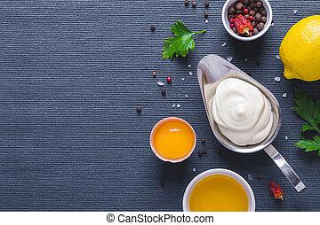 藍色, 成分, 布, 背景, 蛋黃醬, 調味汁